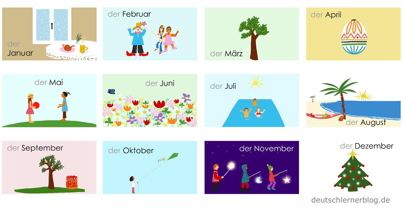 Monate auf Deutsch - Deutsch Monate - deutsche Monate - Deutsch lernen Monate - Monate Präposition