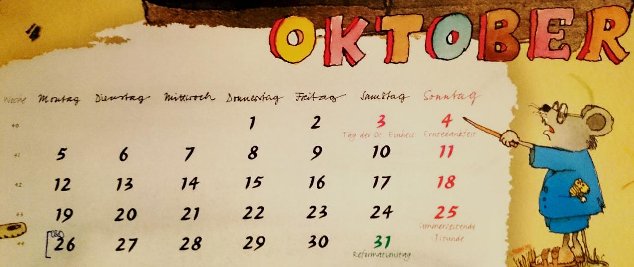 Kalender - Wochentage auf Deutsch