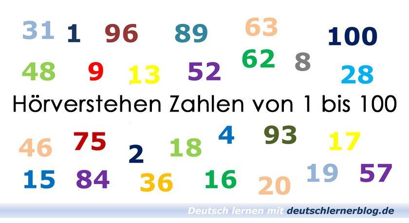 Zahlen hören - Hörverstehen Zahlen - Zahlen auf Deutsch - deutsche Zahlen