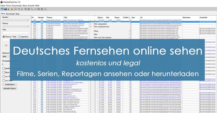 deutsches Fernsehen online sehen - Filme online - kostenlos und legal