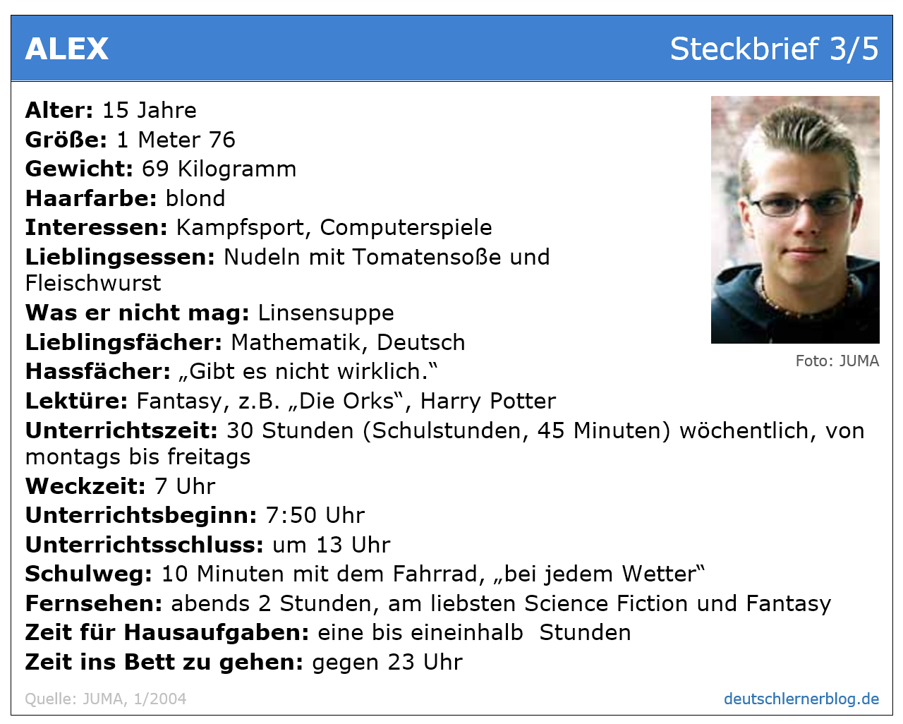 Leseverstehen Deutsch A2 - Steckbrief