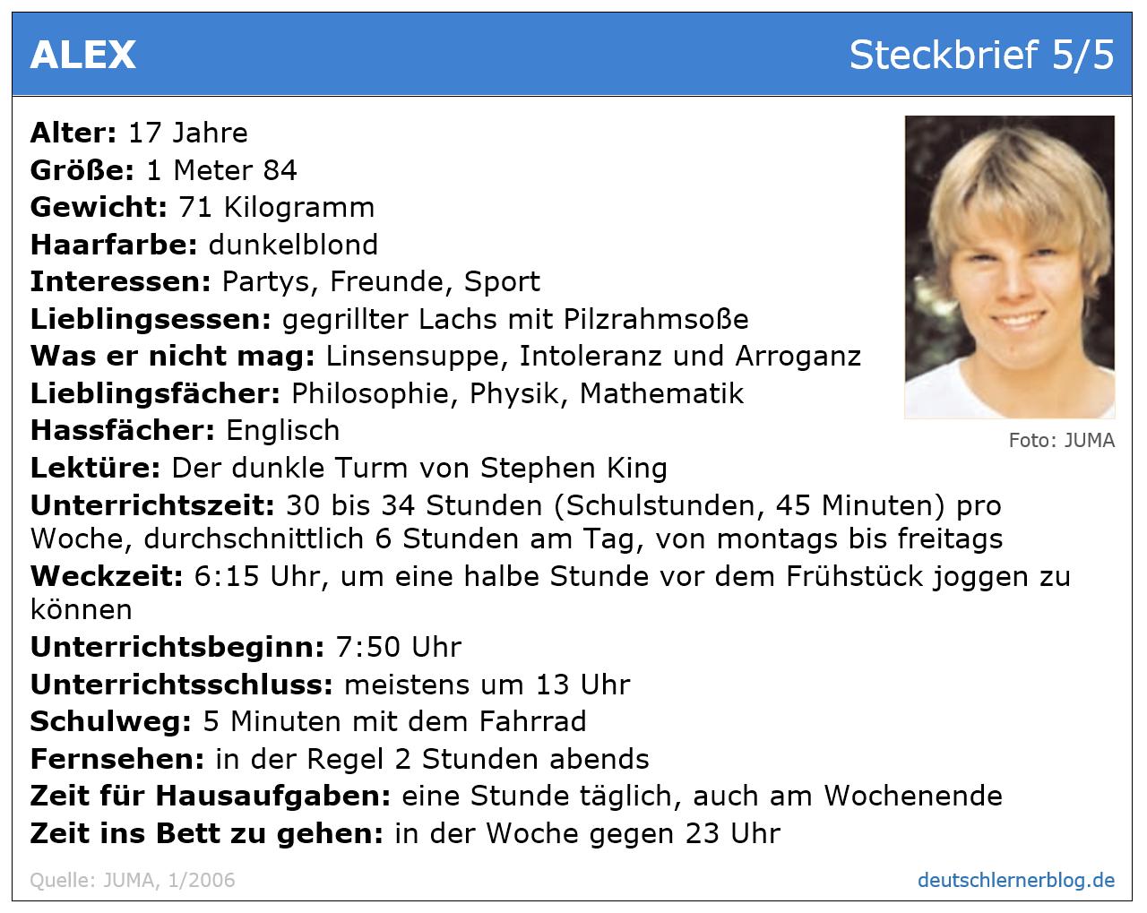 Steckbrief Junge 17 - Übung zum Leseverstehen Deutsch B 1