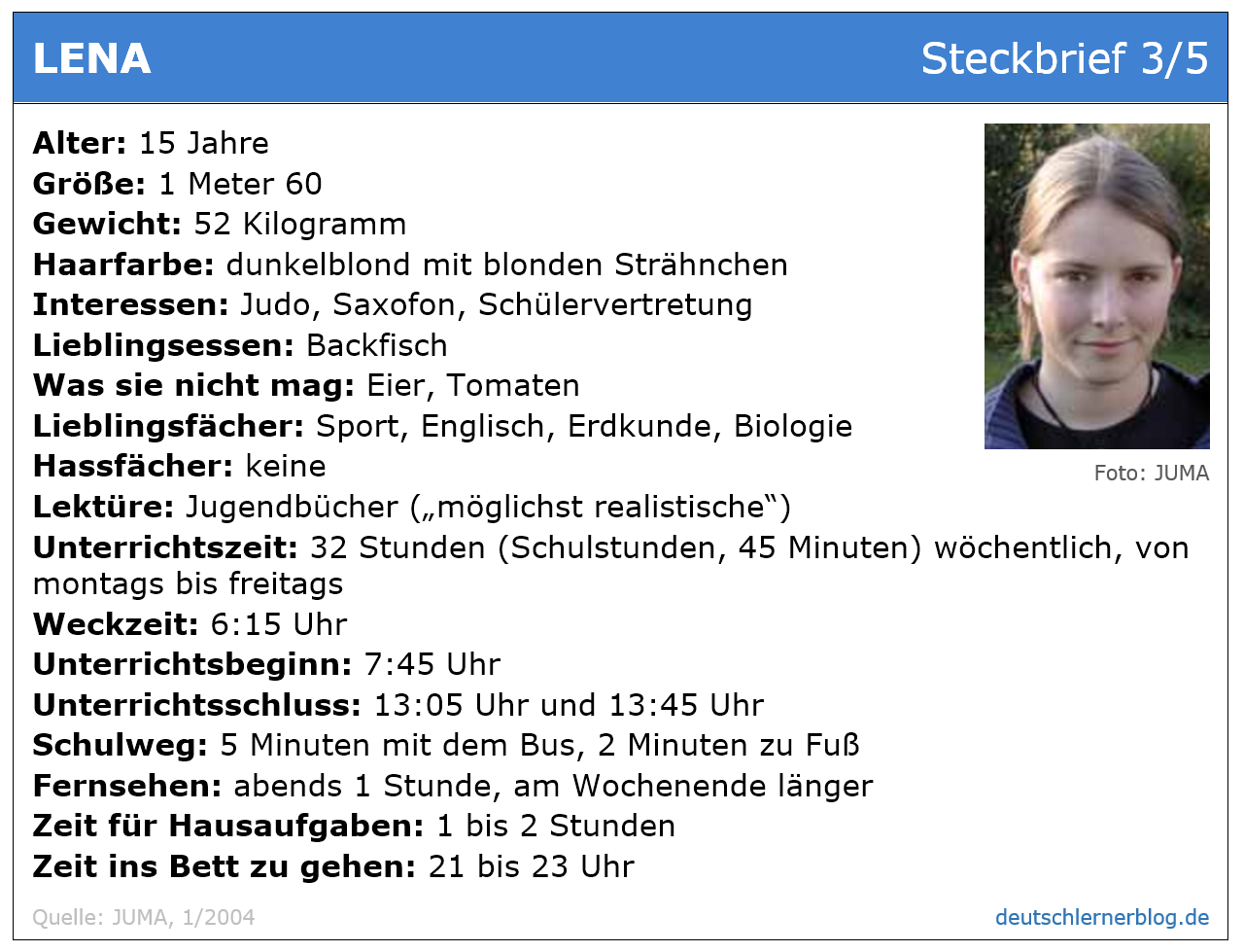 Steckbrief Mädchen Jugendliche 15 - Übung zum Leseverstehen Deutsch A 2