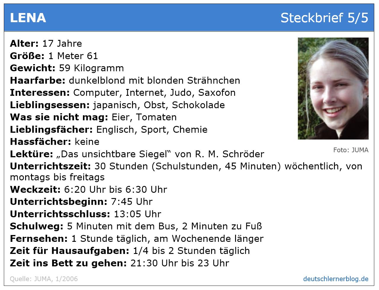 Leseverstehen Deutsch B 1 - Steckbrief Mädchen Teenager