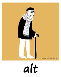 alt - Adjektive - Bilder - Wortschatz mit Bildern - Wortschatzbilder