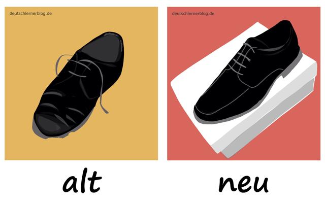 alt - neu - Adjektive - Deutsch Adjektive - deutsche Adjektive - Adjektive Deutsch - Adjektive Übungen - Adjektive Bilder