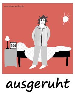 ausgeruht - Adjektive - Bilder - Wortschatz mit Bildern - Wortschatzbilder