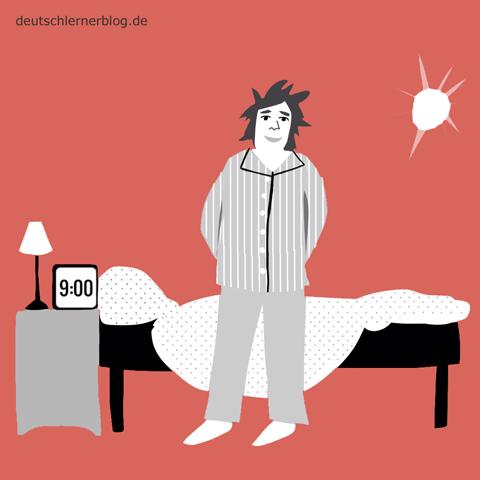 ausgeschlafen - ausgeruht - Adjektive - Bilder - Wortschatz mit Bildern - Wortschatzbilder