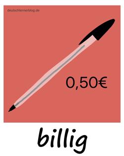 billig - Adjektive - Bilder - Wortschatz mit Bildern - Wortschatzbilder