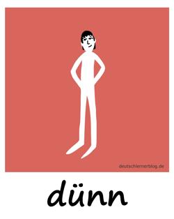 dünn - Adjektive - Bilder - Wortschatz mit Bildern - Wortschatzbilder