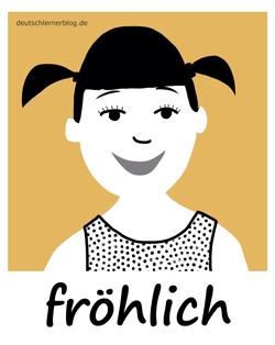 fröhlich - Adjektive - Bilder - Wortschatz mit Bildern - Wortschatzbilder