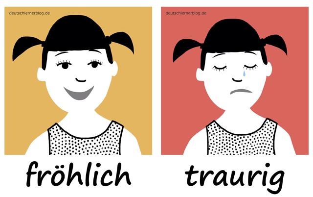 fröhlich - traurigAdjektive - Deutsch Adjektive - deutsche Adjektive - Adjektive Deutsch - Adjektive Übungen - Wortschatz Deutsch - Adjektive Bilder - Adjektive mit Bildern