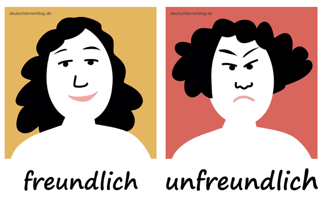 freundlich - unfreundlich - Adjektive - Bilder - Wortschatz mit Bildern - Wortschatzbilder