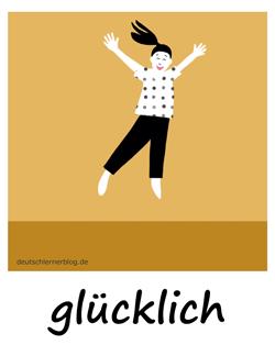 glücklich - Adjektive - Bilder - Wortschatz mit Bildern - Wortschatzbilder