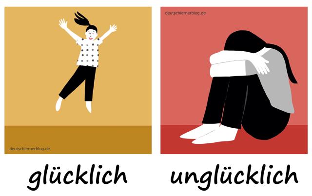 glücklich - unglücklich - Adjektive - Deutsch Adjektive - deutsche Adjektive - Adjektive Deutsch - Adjektive Übungen - Wortschatz Deutsch - Adjektive Bilder - Adjektive mit Bildern