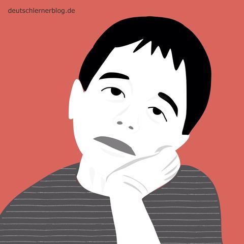 langweilig - gelangweilt - Adjektive - Bilder - Wortschatz mit Bildern - Wortschatzbilder