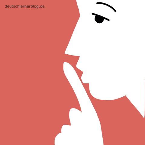 leise - still - Adjektive - Bilder - Wortschatz mit Bildern - Wortschatzbilder