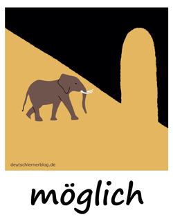 möglich - Adjektive - Bilder - Wortschatz mit Bildern - Wortschatzbilder