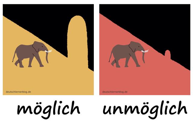 möglich - unmöglich - Adjektive - Deutsch Adjektive - deutsche Adjektive - Adjektive Deutsch - Adjektive Übungen - Wortschatz Deutsch - Adjektive Bilder - Adjektive mit Bildern