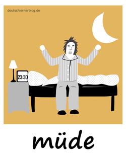 müde - Adjektive - Bilder - Wortschatz mit Bildern - Wortschatzbilder