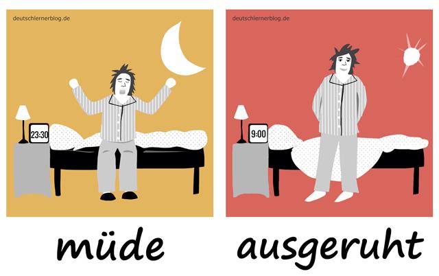müde - ausgeruht - Adjektive - Deutsch Adjektive - deutsche Adjektive - Adjektive Deutsch - Adjektive Übungen - Wortschatz Deutsch - Adjektive Bilder - Adjektive mit Bildern