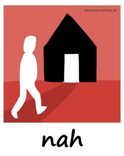 nah - Nähe - Adjektive - Bilder - Wortschatz mit Bildern - Wortschatzbilder