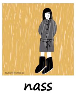nass - Regen - Adjektive - Bilder - Wortschatz mit Bildern - Wortschatzbilder