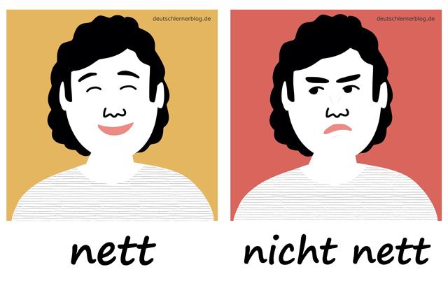 nett - nicht_nettAdjektive - Deutsch Adjektive - deutsche Adjektive - Adjektive Deutsch - Adjektive Übungen - Wortschatz Deutsch - Adjektive Bilder - Adjektive mit Bildern