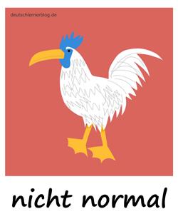 nicht normal - anormal - Adjektive - Bilder - Wortschatz mit Bildern - Wortschatzbilder