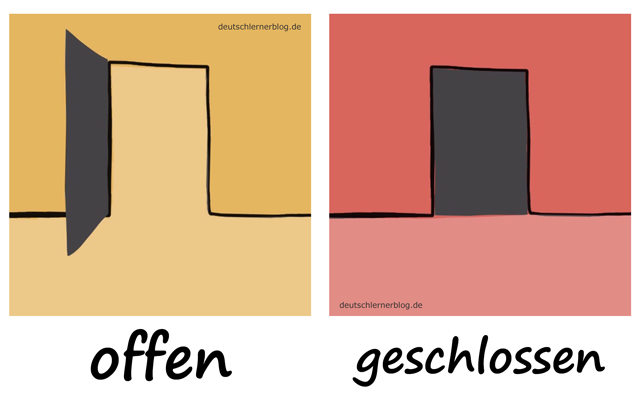 offen - geschlossenAdjektive - Deutsch Adjektive - deutsche Adjektive - Adjektive Deutsch - Adjektive Übungen - Wortschatz Deutsch - Adjektive Bilder - Adjektive mit Bildern