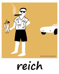 reich - Adjektive - Bilder - Wortschatz mit Bildern - Wortschatzbilder