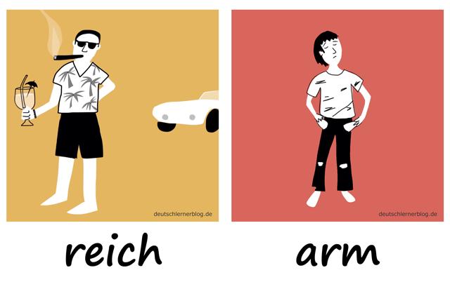 reich - arm - Adjektive - Deutsch Adjektive - deutsche Adjektive - Adjektive Deutsch - Adjektive Übungen - Wortschatz Deutsch - Adjektive Bilder - Adjektive mit Bildern