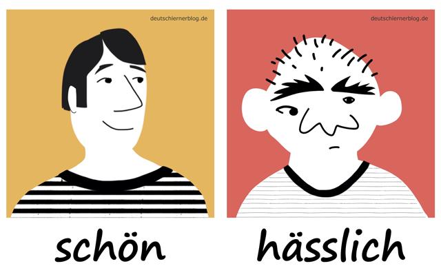 schön - hässlich - Adjektive - Bilder - Wortschatz mit Bildern - Wortschatzbilder