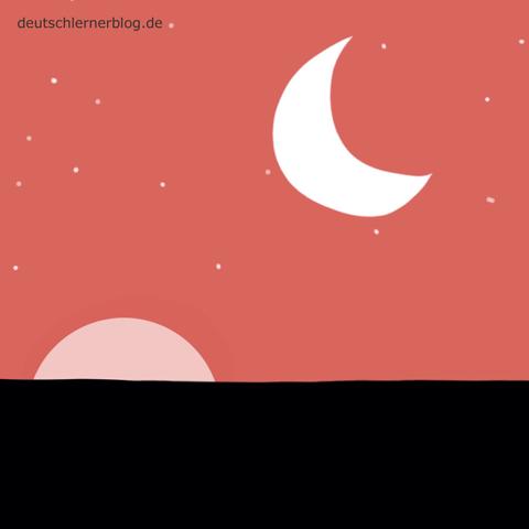 abends - spät - Adjektive - Bilder - Wortschatz mit Bildern - Wortschatzbilder