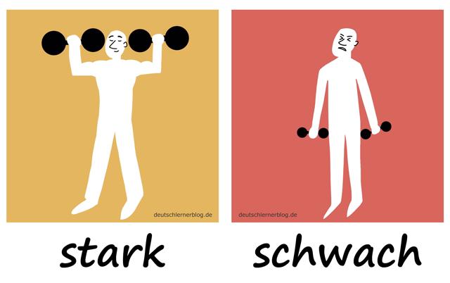 stark - schwachAdjektive - Deutsch Adjektive - deutsche Adjektive - Adjektive Deutsch - Adjektive Übungen - Wortschatz Deutsch - Adjektive Bilder - Adjektive mit Bildern