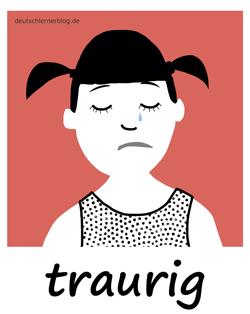 traurig - Adjektive - Bilder - Wortschatz mit Bildern - Wortschatzbilder