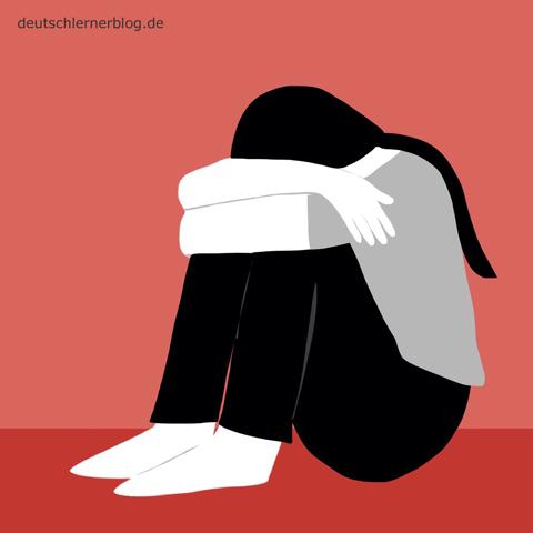 traurig - niedergeschlagen - Adjektive - Bilder - Wortschatz mit Bildern - Wortschatzbilder