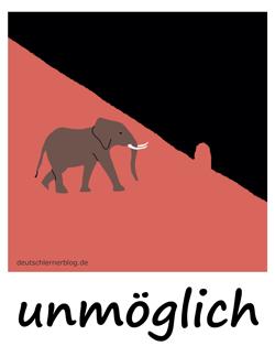 unmöglich - Adjektive - Bilder - Wortschatz mit Bildern - Wortschatzbilder