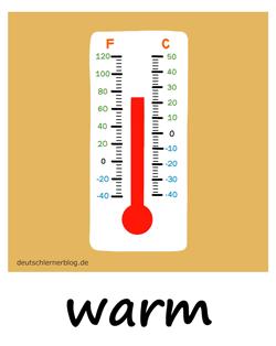 warm - Temperatur - Adjektive - Bilder - Wortschatz mit Bildern - Wortschatzbilder