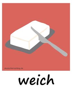 weich - butterweich - Adjektive - Bilder - Wortschatz mit Bildern - Wortschatzbilder