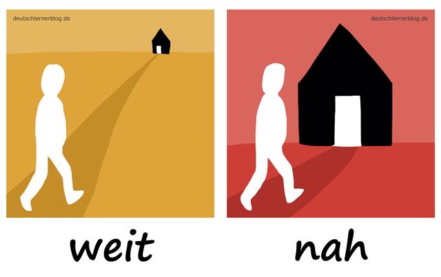 weit - nahAdjektive - Deutsch Adjektive - deutsche Adjektive - Adjektive Deutsch - Adjektive Übungen - Wortschatz Deutsch - Adjektive Bilder - Adjektive mit Bildern