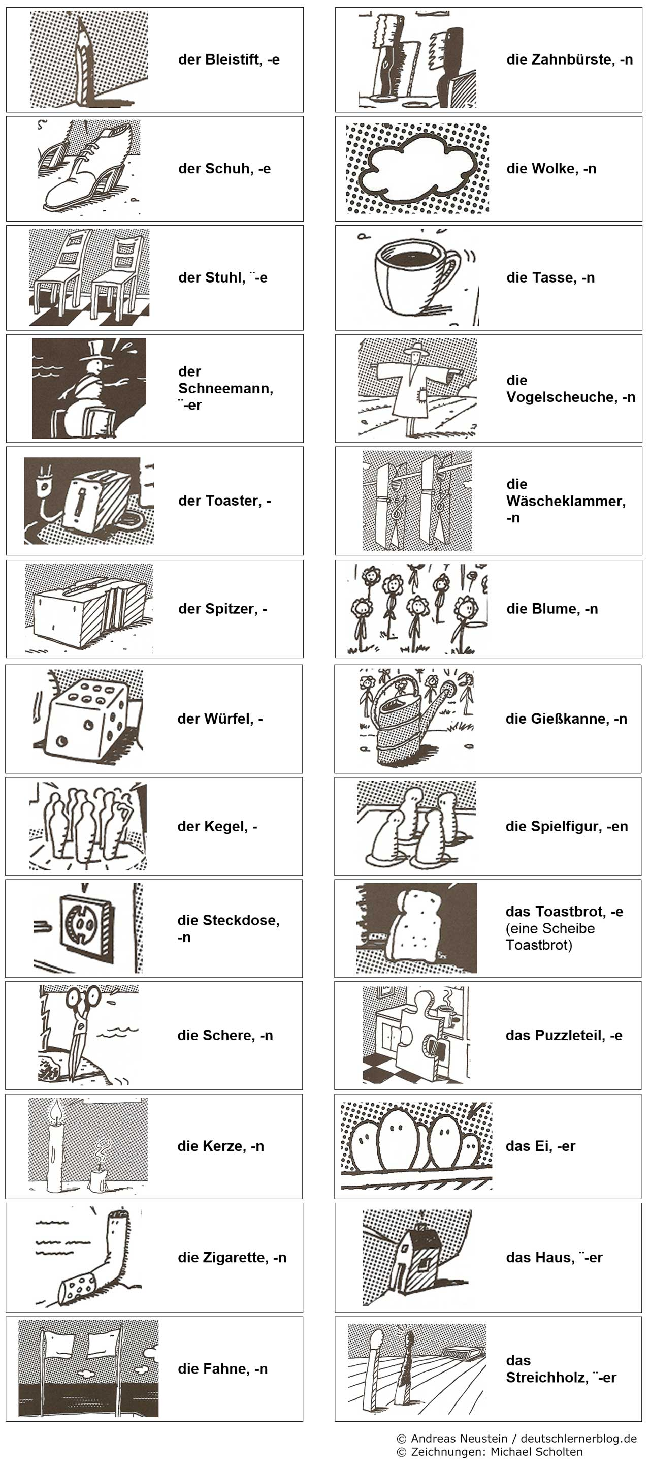 deutsche Cartoons - Wortschatz lernen mit Cartoons - Cartoons michael scholten