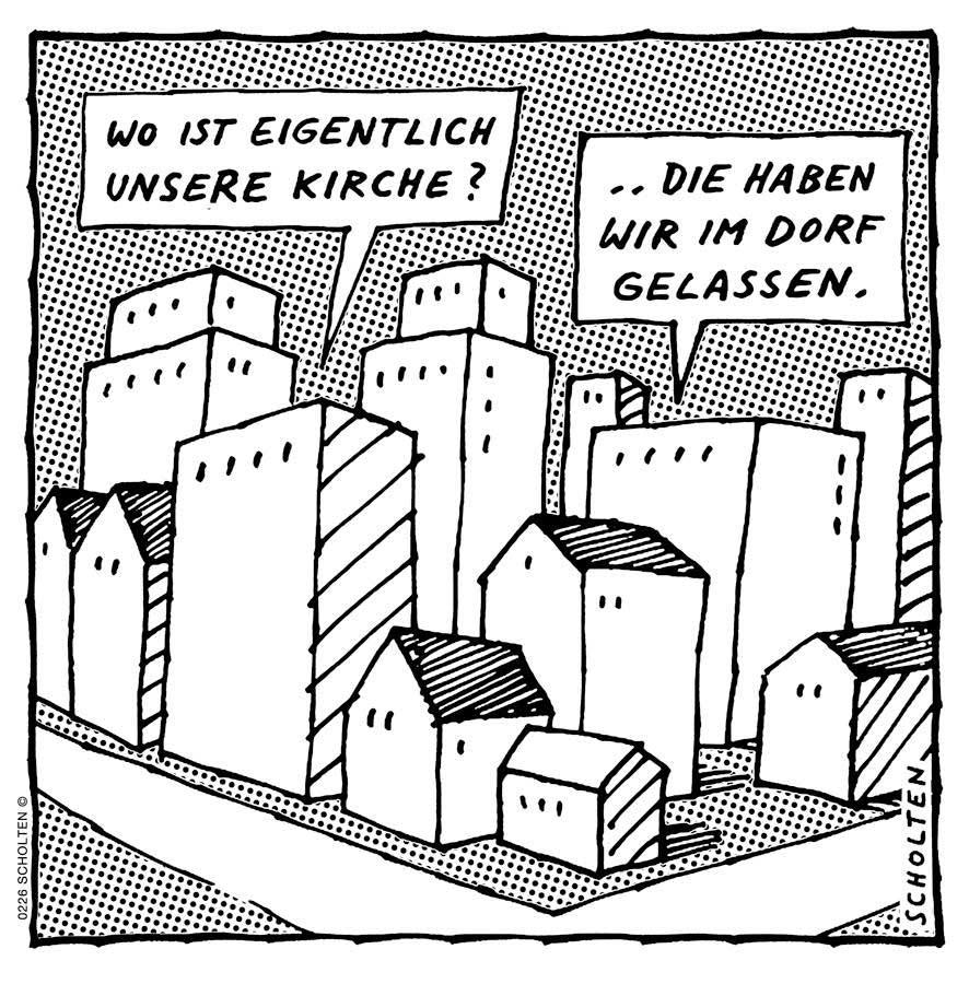Kirche im Dorf lassen - Deutsch lernen mit Cartoons - Redewendungen - Wortschatz Deutsch