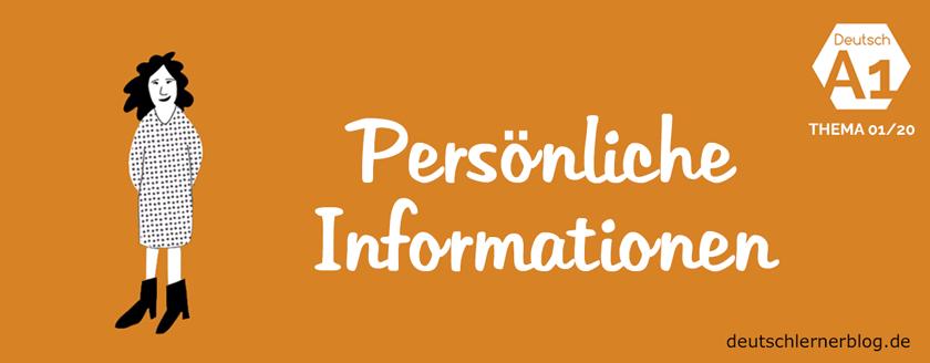 Persönliche Informationen Deutsch Lernen A1 Nach Themen
