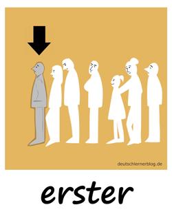 erster - Adjektive - Bilder - Wortschatz mit Bildern - Wortschatzbilder