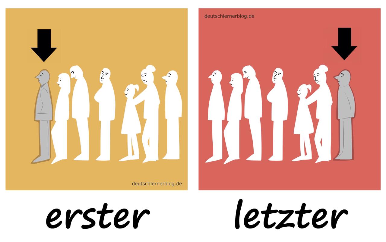 erster - letzter - Adjektive - Deutsch Adjektive - deutsche Adjektive - Adjektive Deutsch - Adjektive Übungen - Wortschatz Deutsch - Adjektive Bilder - Adjektive mit Bildern