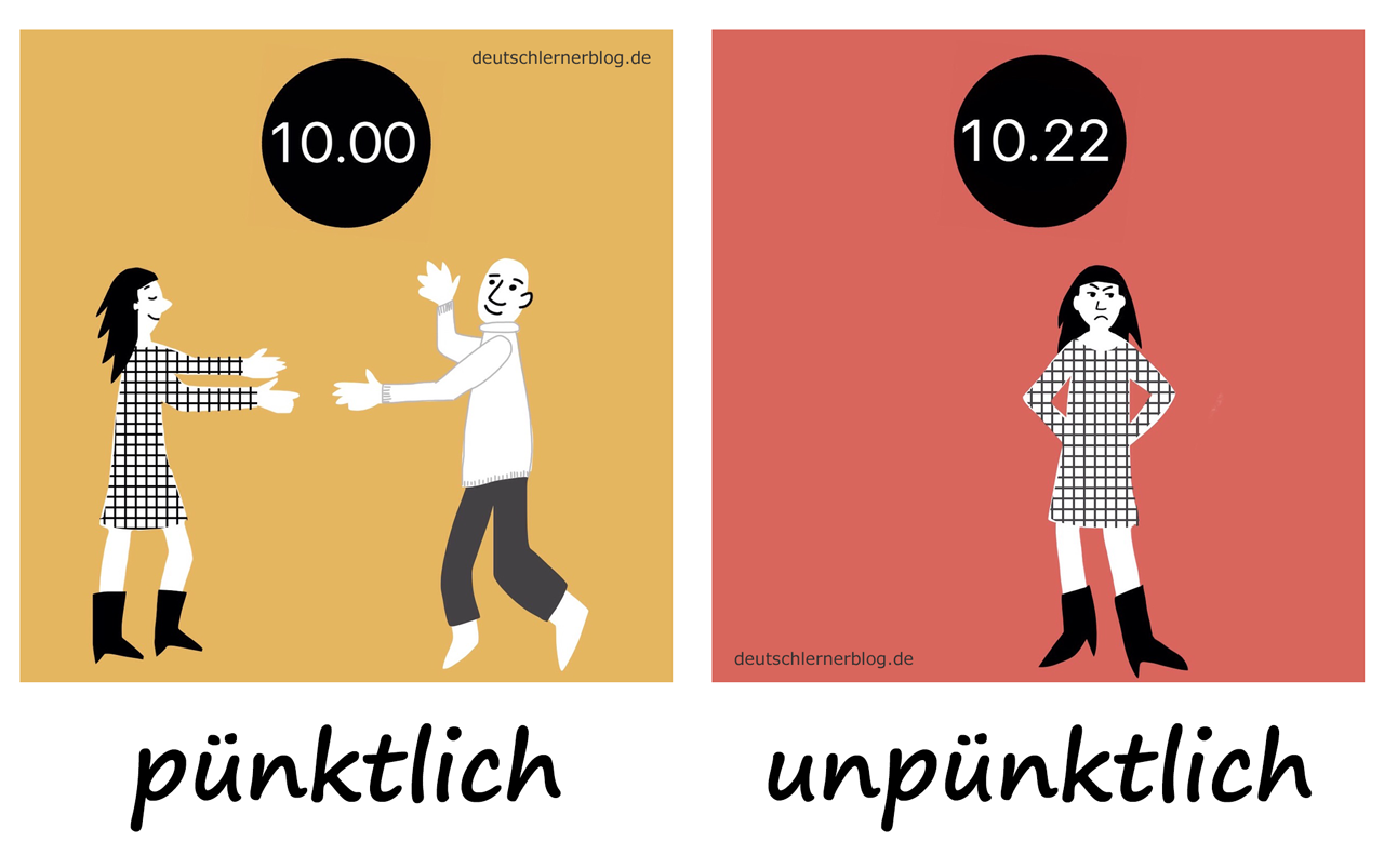 pünktlich - unpünktlich - Adjektive - Deutsch Adjektive - deutsche Adjektive - Adjektive Deutsch - Adjektive Übungen - Wortschatz Deutsch - Adjektive Bilder - Adjektive mit Bildern