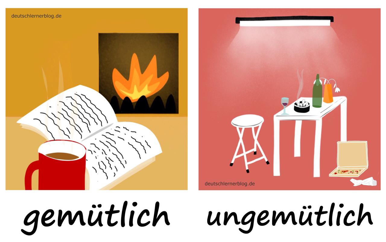 gemütlich - ungemütlich- Adjektive - Deutsch Adjektive - deutsche Adjektive - Adjektive Deutsch - Adjektive Übungen - Wortschatz Deutsch - Adjektive Bilder - Adjektive mit Bildern