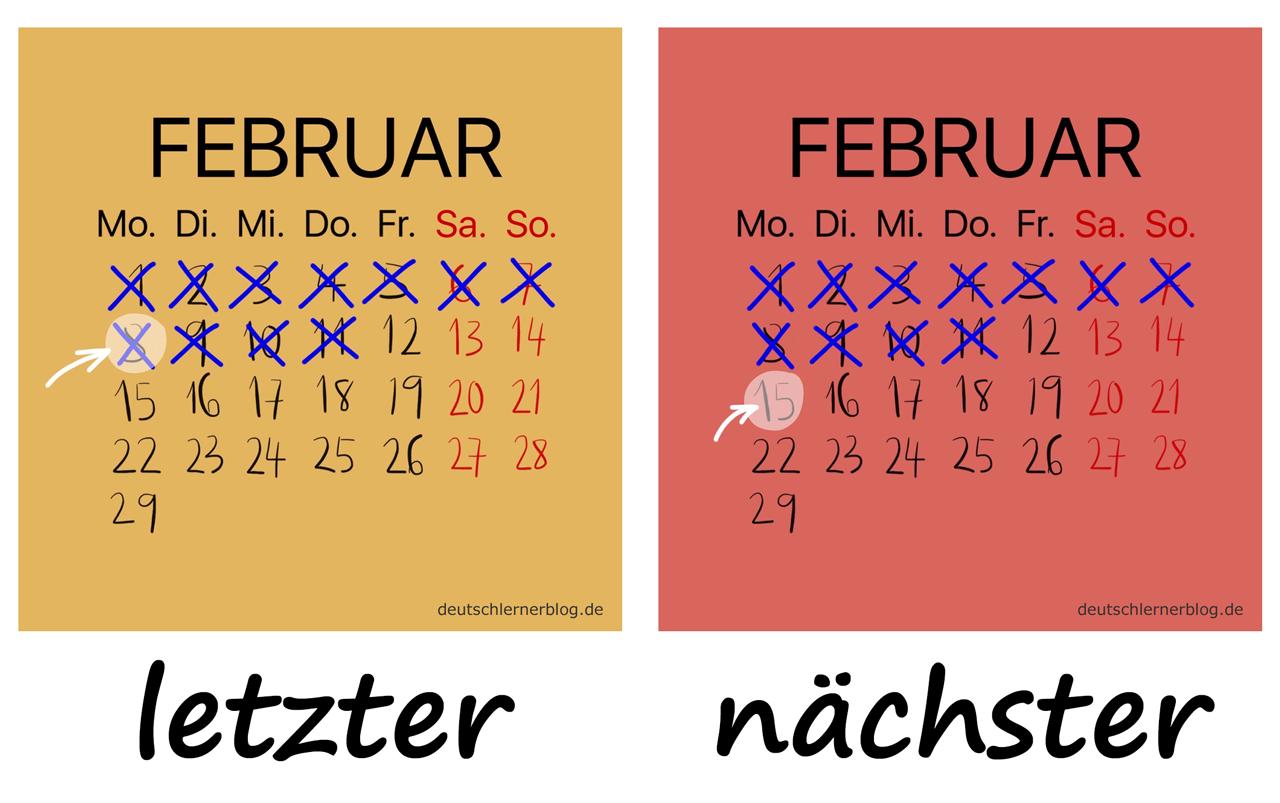 letzter - nächster- Adjektive - Deutsch Adjektive - deutsche Adjektive - Adjektive Deutsch - Adjektive Übungen - Wortschatz Deutsch - Adjektive Bilder - Adjektive mit Bildern