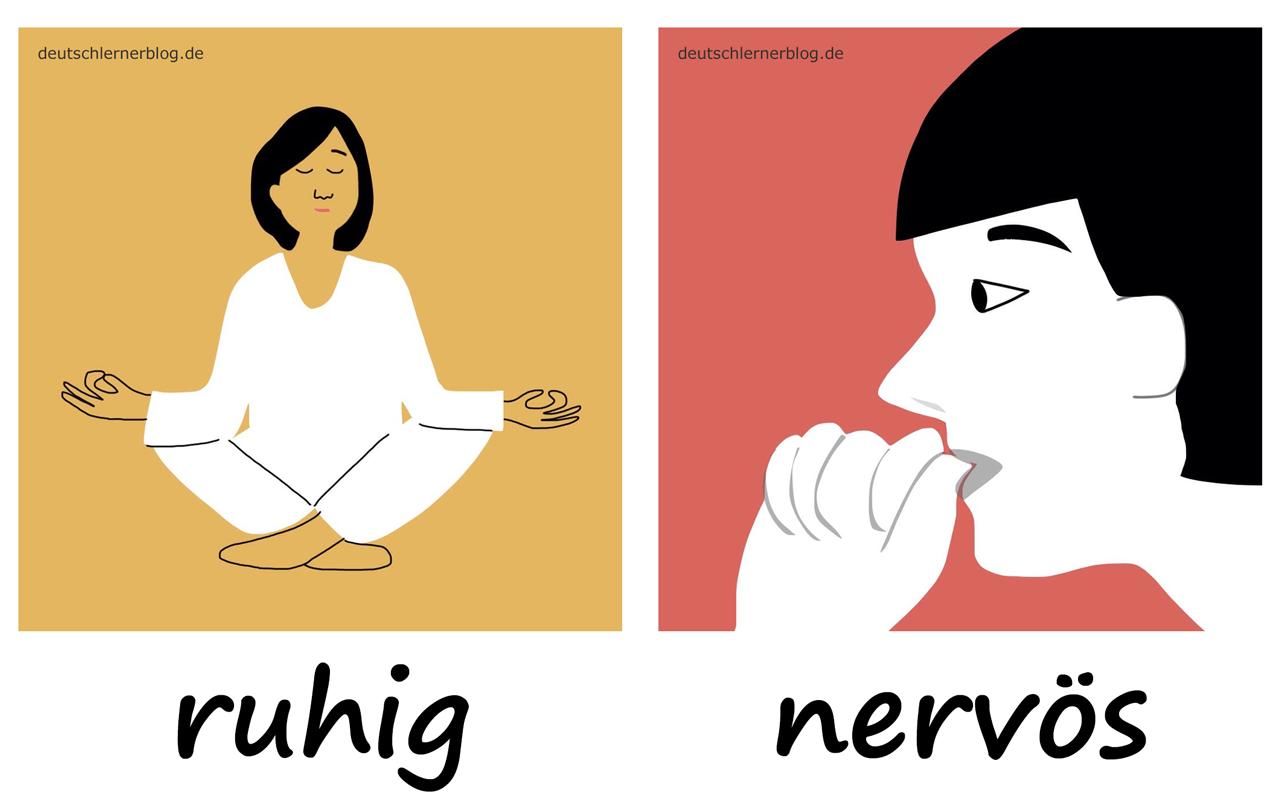 ruhig - nervös- Adjektive - Deutsch Adjektive - deutsche Adjektive - Adjektive Deutsch - Adjektive Übungen - Wortschatz Deutsch - Adjektive Bilder - Adjektive mit Bildern
